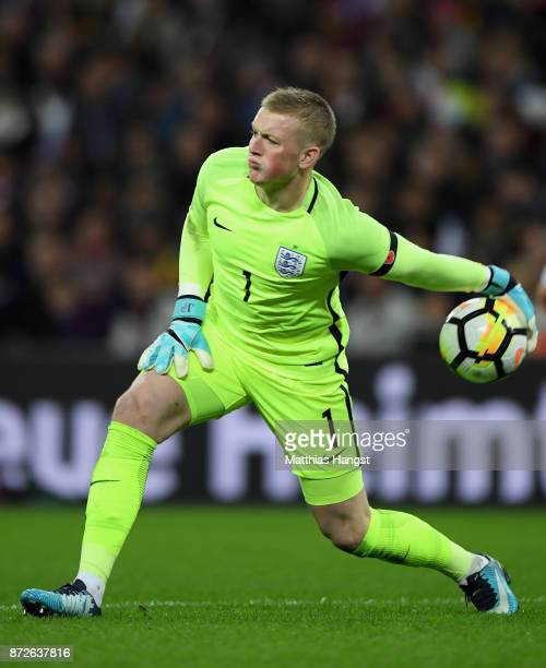 Jordan Pickford of England in action during the International friendly match between England and Germany at Wembley Stadium on November 10 2017 in...
