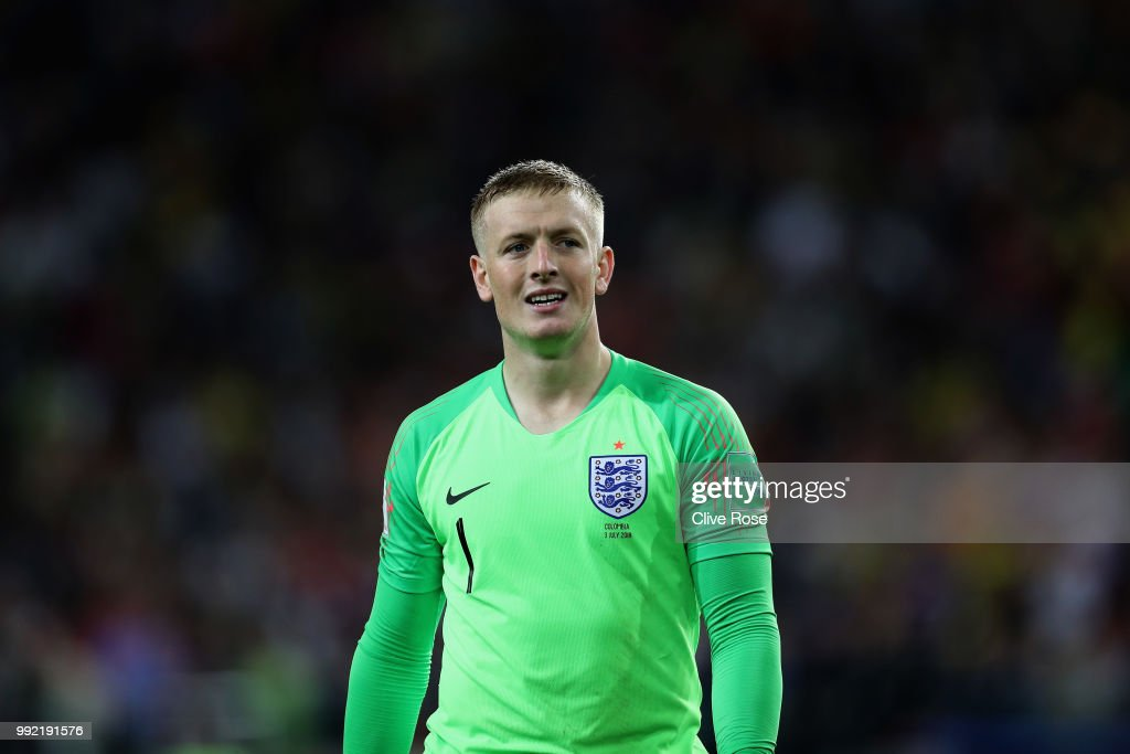Jordan Pickford of England looks on during the 2018 FIFA World Cup Russia Round of 16 match between Colombia and England at Spartak Stadium on July 3, 2018 in Moscow, Russia.