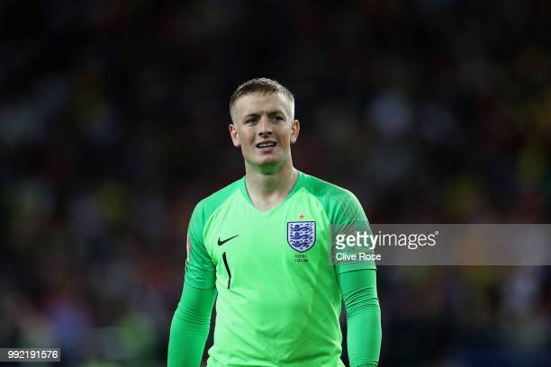 Jordan Pickford of England looks on during the 2018 FIFA World Cup Russia Round of 16 match between Colombia and England at Spartak Stadium on July 3...