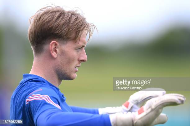 Jordan Pickford of England looks on during the England Training Session at St George's Park on July 10, 2021 in Burton upon Trent, England.