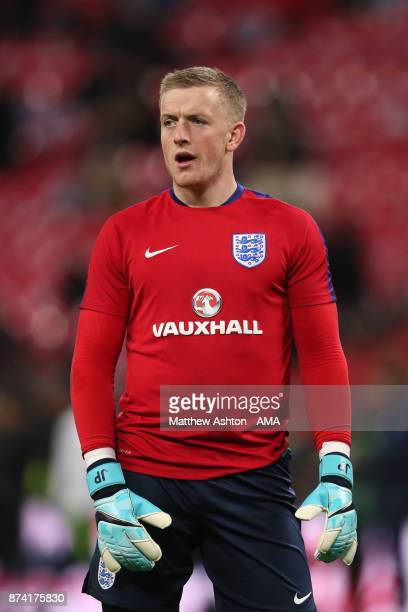 Jordan Pickford of England looks on prior to the international friendly match between England and Brazil at Wembley Stadium on November 14 2017 in...