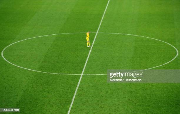 Jordan Pickford of England loosk dejected following the 2018 FIFA World Cup Russia Semi Final match between England and Croatia at Luzhniki Stadium...
