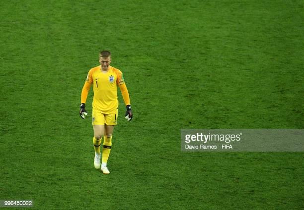 Jordan Pickford of England loosk dejected following the 2018 FIFA World Cup Russia Semi Final match between England and Croatia at Luzhniki Stadium...