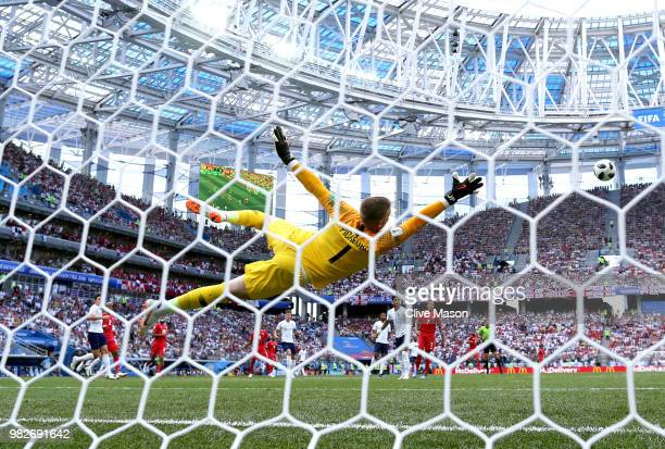 Jordan Pickford of England makes a save during the 2018 FIFA World Cup Russia group G match between England and Panama at Nizhny Novgorod Stadium on...