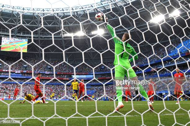 Jordan Pickford of England makes a save during the 2018 FIFA World Cup Russia Quarter Final match between Sweden and England at Samara Arena on July...