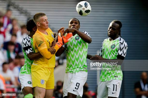 Jordan Pickford of England Odion Ighalo of Nigeria Victor Moses of Nigeria during the International Friendly match between England v Nigeria at the...