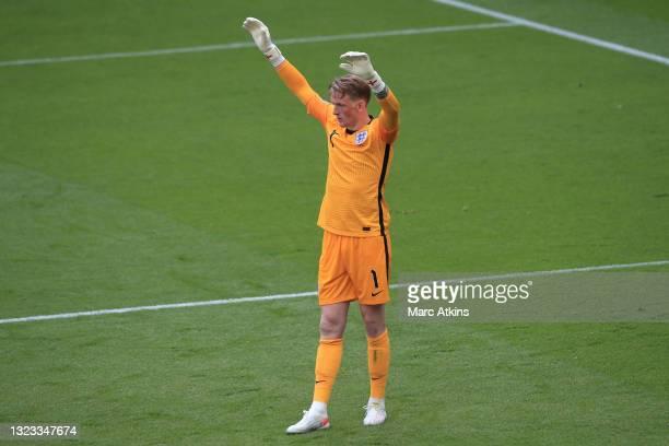 Jordan Pickford of England prepares to take a goal kick during the UEFA Euro 2020 Championship Group D match between England and Croatia at Wembley...
