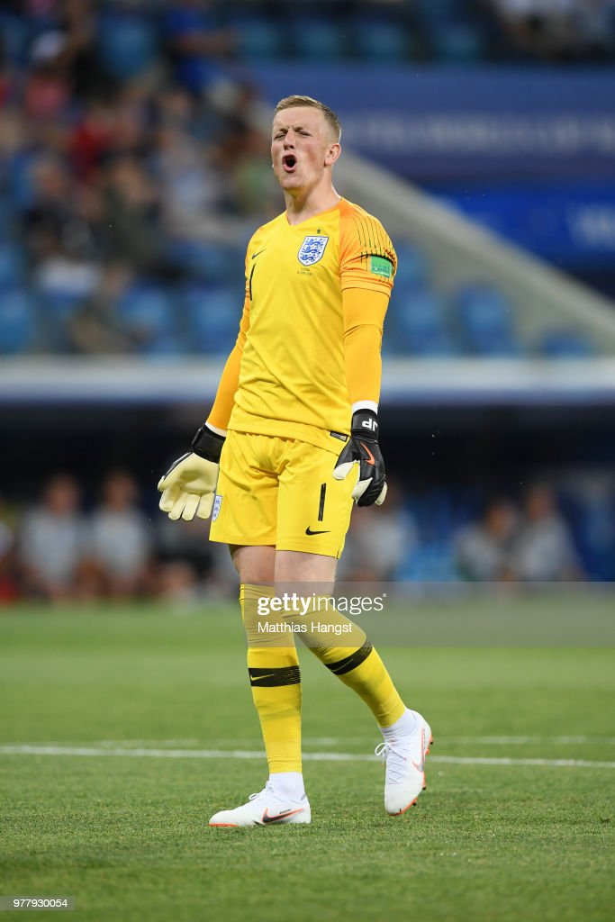 Jordan Pickford of England reacts during the 2018 FIFA World Cup Russia group G match between Tunisia and England at Volgograd Arena on June 18, 2018 in Volgograd, Russia.