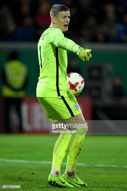 Jordan Pickford of England reacts during the U21 international friendly match between Germany and England at BRITAArena on March 24 2017 in Wiesbaden...