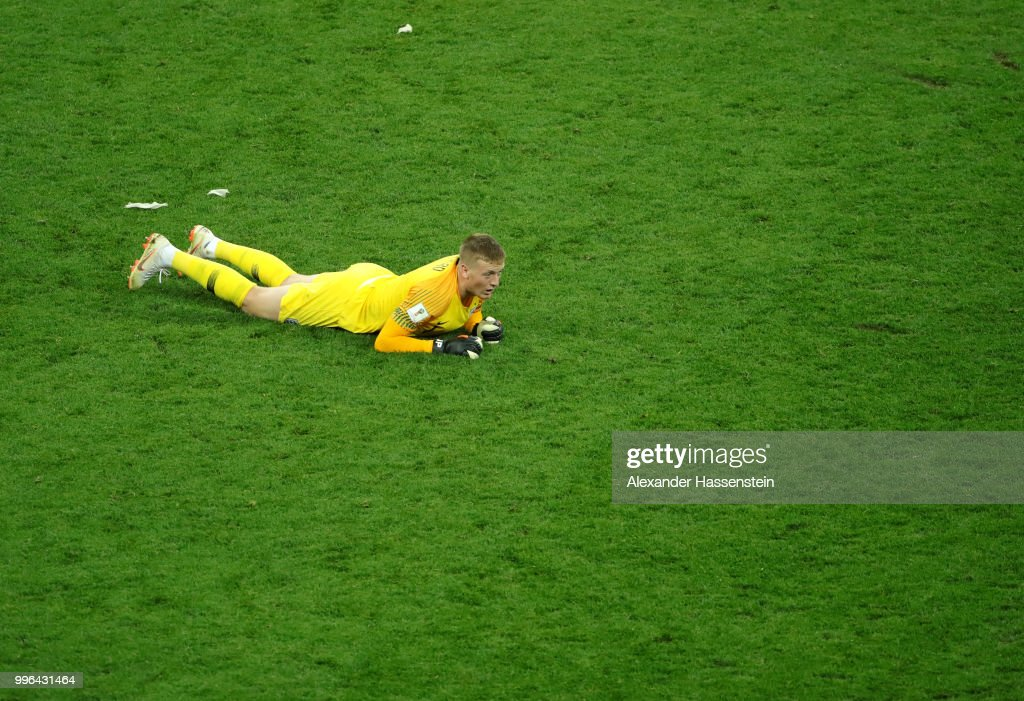 Jordan Pickford of England reacts following the 2018 FIFA World Cup Russia Semi Final match between England and Croatia at Luzhniki Stadium on July 11, 2018 in Moscow, Russia.