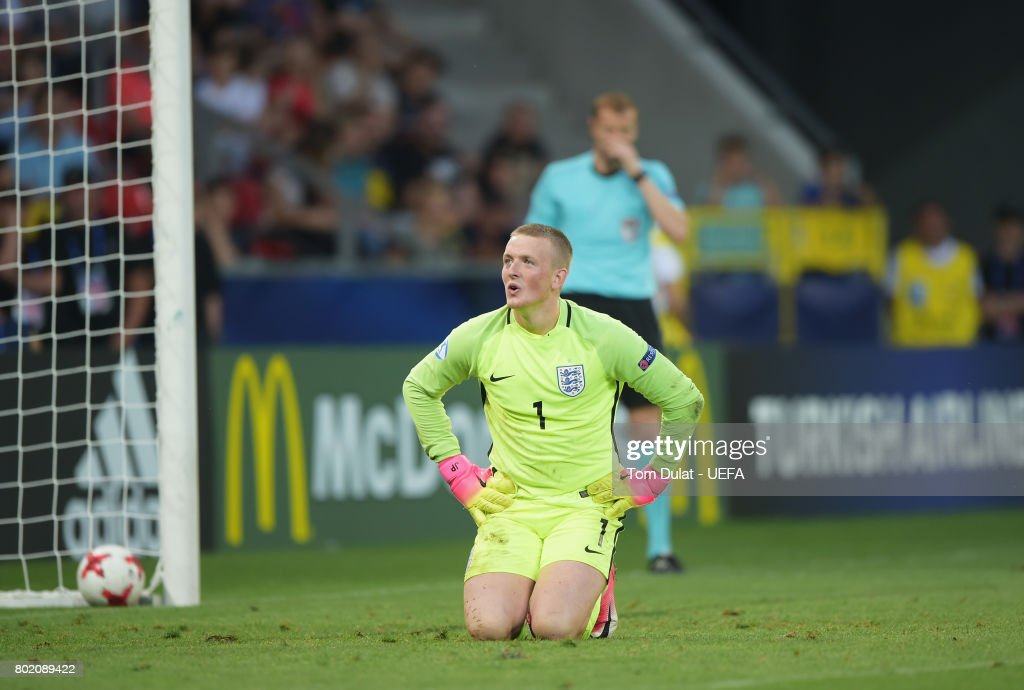 Jordan Pickford of England reacts in the penalty shoot out during the UEFA European Under-21 Championship Semi Final match between England and Germany at Tychy Stadium on June 27, 2017 in Tychy, Poland.