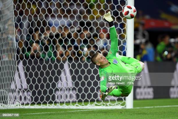 Jordan Pickford of England saves the fifth penalty from Carlos Bacca of Colombia in the penalty shoot out during the 2018 FIFA World Cup Russia Round...