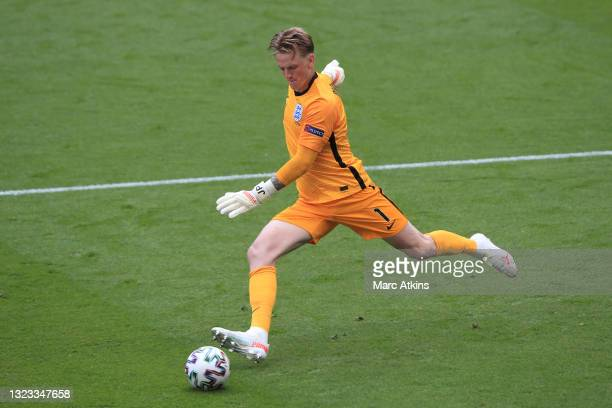 Jordan Pickford of England takes a goal kick during the UEFA Euro 2020 Championship Group D match between England and Croatia at Wembley Stadium on...