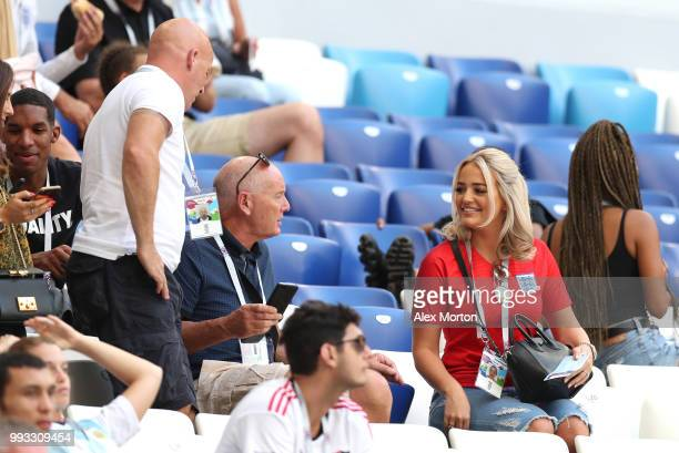 Jordan Pickford of England's girlfriend Megan Davison looks on prior to the 2018 FIFA World Cup Russia Quarter Final match between Sweden and England...