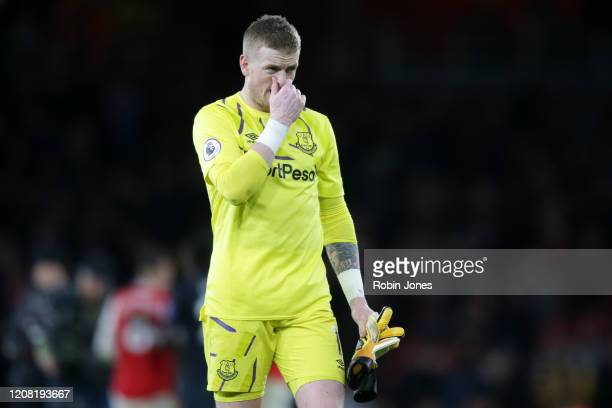 Jordan Pickford of Everton after his sides 32 defeat during the Premier League match between Arsenal FC and Everton FC at Emirates Stadium on...
