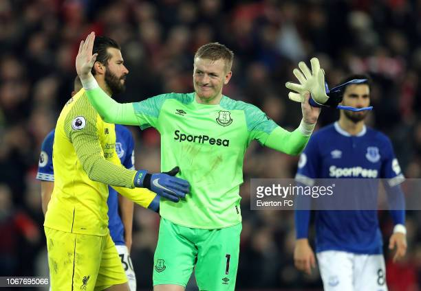 Jordan Pickford of Everton apologises to the Everton supporters during the Premier League match between Liverpool FC and Everton FC at Anfield on...