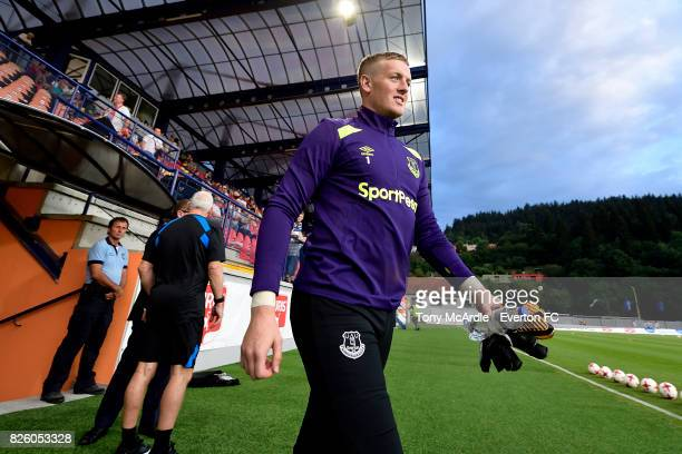 Jordan Pickford of Everton before for the UEFA Europa League Qualifier match between MFK Ruzomberok and Everton on August 3 2017 in Ruzomberok...