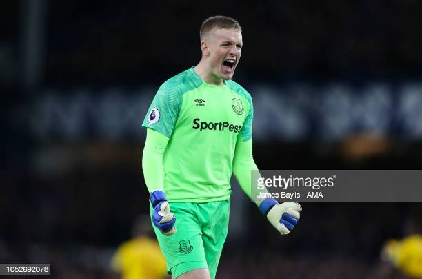Jordan Pickford of Everton celebrates after Dominic CalvertLewin of Everton scored a goal to make it 10 during the Premier League match between...