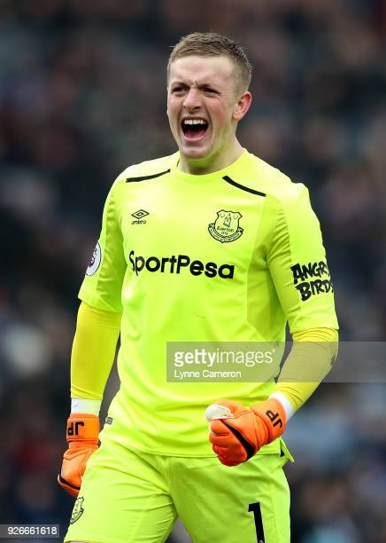 Jordan Pickford of Everton celebrates after scoring his sides first goal during the Premier League match between Burnley and Everton at Turf Moor on...