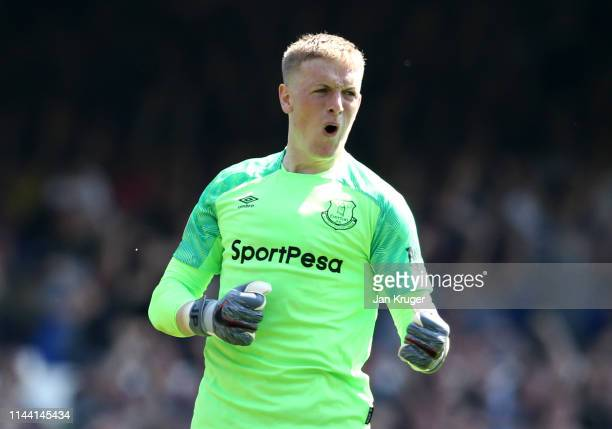 Jordan Pickford of Everton celebrates during the Premier League match between Everton FC and Manchester United at Goodison Park on April 21 2019 in...