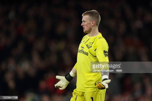 Jordan Pickford of Everton during the Premier League match between Arsenal FC and Everton FC at Emirates Stadium on February 23 2020 in London United...