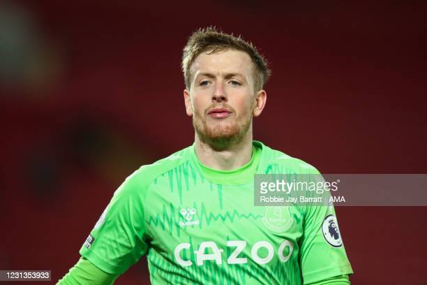Jordan Pickford of Everton during the Premier League match between Liverpool and Everton at Anfield on February 20, 2021 in Liverpool, United...
