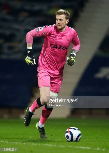 Jordan Pickford of Everton during the Premier League match between West Bromwich Albion and Everton at The Hawthorns on March 4, 2021 in West...