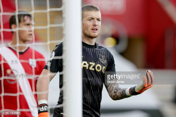Jordan Pickford of Everton during the Premier League match between Southampton and Everton at St Mary's Stadium on October 25 2020 in Southampton...