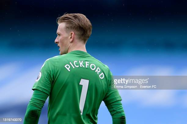 Jordan Pickford of Everton during the Premier League match between Manchester City and Everton at the Etihad Stadium on May 23, 2021 in Manchester,...