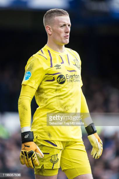 Jordan Pickford of Everton FC during the Premier League match between Everton FC and Crystal Palace at Goodison Park on February 8 2020 in Liverpool...