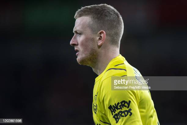 Jordan Pickford of Everton FC looks on during the Premier League match between Arsenal FC and Everton FC at Emirates Stadium on February 23 2020 in...