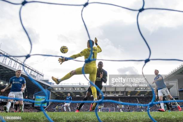 Jordan Pickford of Everton FC make save of Christian Benteke of Crystal Palace during the Premier League match between Everton FC and Crystal Palace...