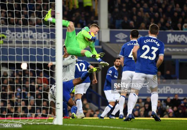 Jordan Pickford of Everton gathers the ball ahead of Kadeem Harris of Cardiff City during the Premier League match between Everton FC and Cardiff...