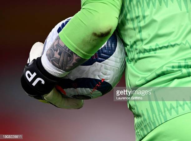 Jordan Pickford of Everton holds the Nike Flight match ball during the Premier League match between Liverpool and Everton at Anfield on February 20,...