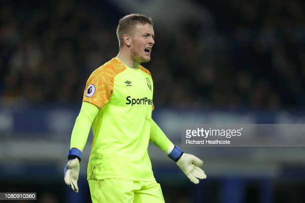 Jordan Pickford of Everton in action during the Premier League match between Everton FC and Watford FC at Goodison Park on December 10 2018 in...