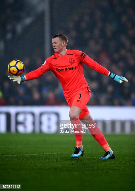 Jordan Pickford of Everton in action during the Premier League match between Crystal Palace and Everton at Selhurst Park on November 18 2017 in...