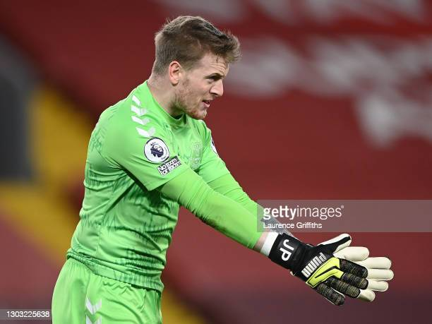Jordan Pickford of Everton looks on during the Premier League match between Liverpool and Everton at Anfield on February 20, 2021 in Liverpool,...