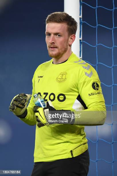 Jordan Pickford of Everton looks on during warm up prior to the Premier League match between Everton and Southampton at Goodison Park on March 01,...