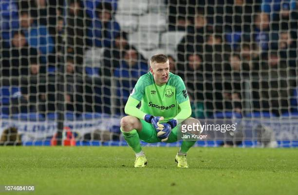 Jordan Pickford of Everton looks thoughtful during the Premier League match between Everton FC and Tottenham Hotspur at Goodison Park on December 23...
