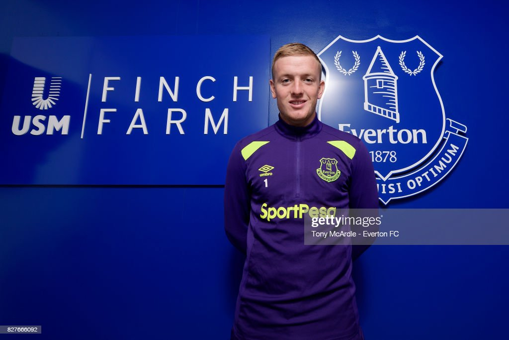 Jordan Pickford of Everton poses for a photo at USM Finch Farm on August 7, 2017 in Halewood, England.