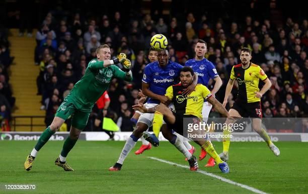 Jordan Pickford of Everton punches clear during the Premier League match between Watford FC and Everton FC at Vicarage Road on February 01 2020 in...