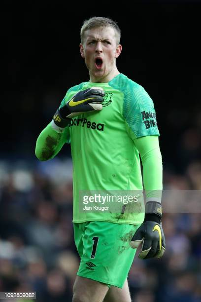 Jordan Pickford of Everton reacts during the Premier League match between Everton FC and Wolverhampton Wanderers at Goodison Park on February 2 2019...