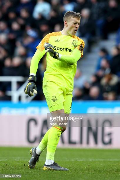 Jordan Pickford of Everton reacts during the Premier League match between Newcastle United and Everton FC at St James Park on March 09 2019 in...