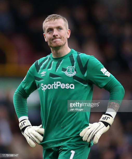Jordan Pickford of Everton reacts during the Premier League match between Burnley FC and Everton FC at Turf Moor on October 05 2019 in Burnley United...