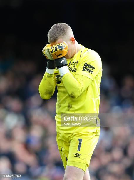 Jordan Pickford of Everton reacts during the Premier League match between Everton FC and Crystal Palace at Goodison Park on February 08 2020 in...