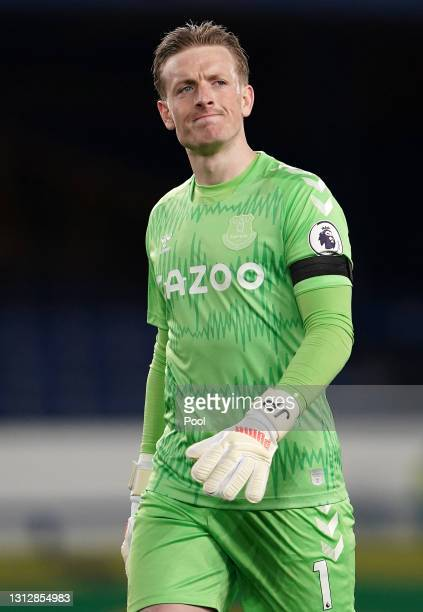 Jordan Pickford of Everton reacts during the Premier League match between Everton and Tottenham Hotspur at Goodison Park on April 16, 2021 in...