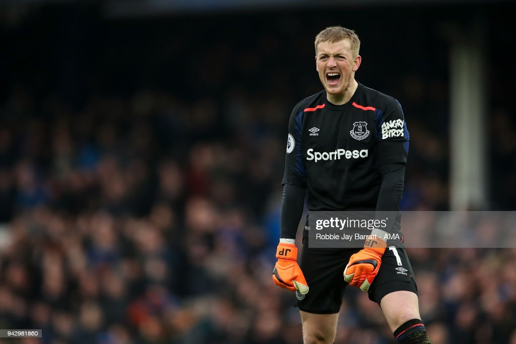 Jordan Pickford of Everton reacts during the Premier League match between Everton and Liverpool at Goodison Park on April 7, 2018 in Liverpool, England.