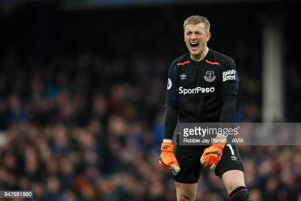 Jordan Pickford of Everton reacts during the Premier League match between Everton and Liverpool at Goodison Park on April 7 2018 in Liverpool England