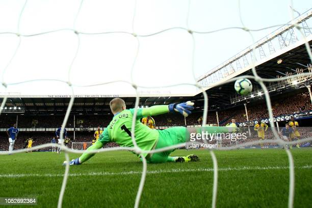 Jordan Pickford of Everton saves a penalty from Luka Milivojevic of Crystal Palace during the Premier League match between Everton FC and Crystal...