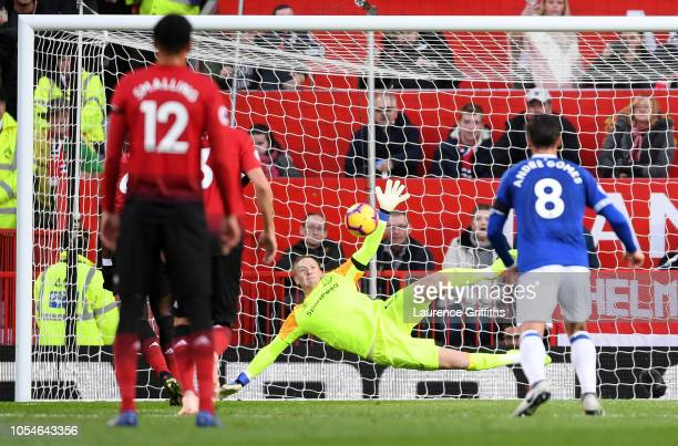 Jordan Pickford of Everton saves a penalty from Paul Pogba of Manchester United during the Premier League match between Manchester United and Everton...